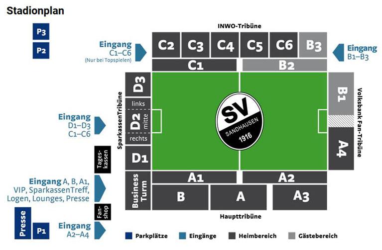 Sandhausen Stadionplan